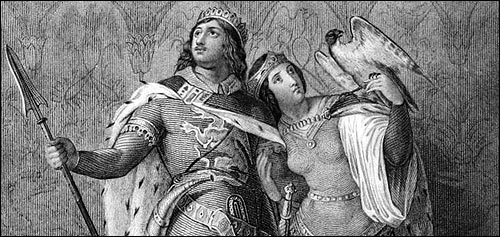 """Siegfried and Kriemhilde"" (detail), engraved after a painting by Julius Schnorr von Carolsfeld,  an illustration from ""Visits and Sketches at Home and Abroad"" (1835) by Mrs Anna Jameson."