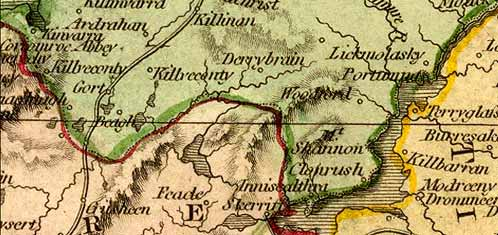 Detail from Thomson map of Ireland, 1815.