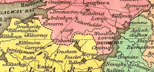 Detail from the Tanner map of Ireland, 1836.