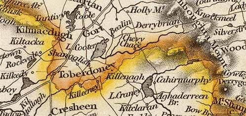 Detail from Arrowsmith map of Ireland, 1844.