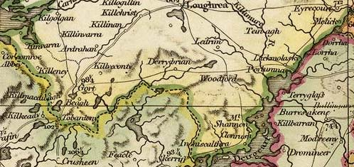 Detail from Faden map of Ireland, 1798.